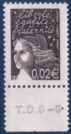 Marianne De Luquet 0,02 € Bistre-noir (n°3444) Numéro De Presse TD6-6 - 1997-04 Marianne Du 14 Juillet