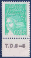 Marianne De Luquet 0,05 € Vert-émeraude (n°3445) Numéro De Presse TD6-6 - 1997-04 Marianne Du 14 Juillet