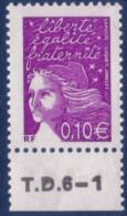 Marianne De Luquet 0,10 € Violet-rouge (n°3446) Numéro De Presse TD6-1 - 1997-04 Marianne Du 14 Juillet