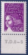 Marianne De Luquet 0,10 € Violet-rouge (n°3446) Numéro De Presse TD6-5 - 1997-04 Marianne Du 14 Juillet