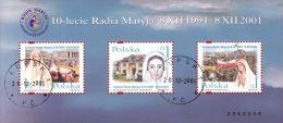 M 2001.12.07 10th Anniversary Of The Radio Transmitter Radio Maryja In Torun - Saint Mary Of Medjugorie - Used Sheet - Blocks & Sheetlets & Panes