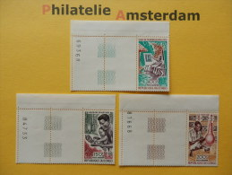 Congo Brazaville 1970, ARTS AND CULTURE / BORD DE FEUILLE: Mi 207-09, ** - Ongebruikt