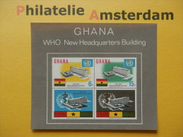 Ghana 1966, WHO NEW HEADQUARTERS: Mi 257-60, Bl. 20, ** - Ghana (1957-...)