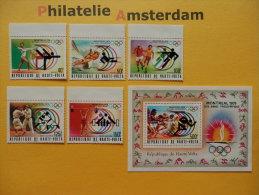 Upper Volta 1976, OLYMPICS MONTREAL: Mi 611-15, + Bl. 40, ** - Summer 1976: Montreal