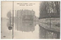 92 - PUTEAUX - Crue De La Seine - Janvier 1910 - Quai National - ELD - Puteaux