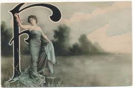 Alphabet  -  Lettre F - Femme, Photo Reutlinger - Unclassified