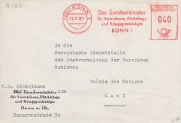 1039  LE MINISTRE DES REFUGIES- 1961  Courrier Vers Les N.U. à Genève (Suisse)  TTB - Storia Postale
