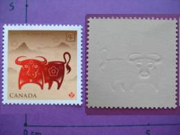 CANADA 2009 MNH NEW CHINESE YEAR OF THE OX BUFFLE ANNEE CHINOIS DU BUFFLE. 1 TIMBRE. 2009. EN RELIEF!! HOROSCOPE - Nouvel An Chinois