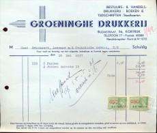 Factuur Facture - Groeninghe Drukkerij - Kortrijk 1937 - Imprimerie & Papeterie