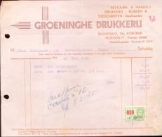 Factuur Facture - Groeninghe Drukkerij - Kortrijk 1935 - Imprimerie & Papeterie