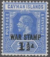 Cayman Islands. 1917 War Stamp. 1½d On 2½d MNH. SG 56 - Cayman Islands