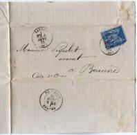 TB 927 -  LAC - Lettre De Me G.COSTE Ancien Notaire OB SEURRE Pour BEAUNE - Marcophilie (Lettres)