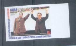 FIDEL CASTRO Y KIM IL SUNG CUBA AÑO 2010 RARISIME NON DENTELE IMPERFORATED SIN DENTAR CINCUENTENARIO DE LAS RELACIONES D