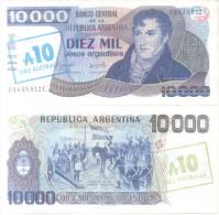 BANCO CENTRAL DE LA REPUBLICA ARGENTINA - BILLETE DE 10000 PESOS ARGENTINOS CON RESELLO DE 10 AUSTRALES - Argentina