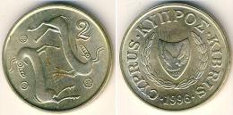 CHIPRE  2 CENTIMOS  1.996  Niquel Laton SC/UNC  KM#54.3   T-DL-11.621 - Cyprus