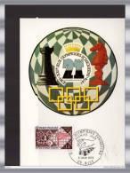 """CM 1974  N° YT 1800 """" XXI° JO ECHIQUEENS """" CAD DE NICE En PARFAIT état - Schaken"""