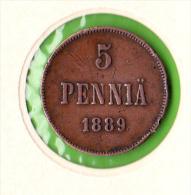 FINLANDE / 5 PENNIÄ  / 1889  - BEL ETAT - Finlandia