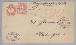 Heimat ZH Oberwetzikon 1874-01-16 Langstempel Auf NN-Tüblibrief Mit Zusatz - 1862-1881 Helvetia Assise (dentelés)
