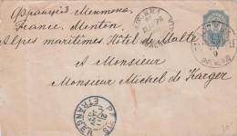 1893 LETTRE. RUSSIE POUR MENTON. ENTIER 10K. ENTRÉE PARIS ETRANGER  / 6942 - 1857-1916 Imperium
