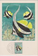 Carte Maximum, Poissons, Plasmarine, Publicité, 1955, Poisson Ange , Timbre, Mocambique, Heniochus Acuminatus. - Mozambique