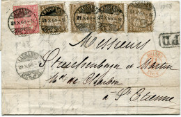 SUISSE LETTRE DEPART LAUSANNE 21 X 68 POUR LA FRANCE - 1862-1881 Helvetia Assise (dentelés)