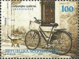 MK 2015-725 BIKE AND CAT, MACEDONIA, 1 X 1v, MNH - Macédoine