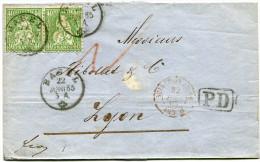 SUISSE LETTRE DEPART BASEL 22 JUNI 65 POUR LA FRANCE - 1862-1881 Helvetia Assise (dentelés)
