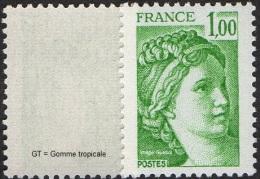 France Sabine De Gandon N° 1973 A ** Variété Le 1.00 Frs Vert Gomme Tropicale - 1977-81 Sabine (Gandon)