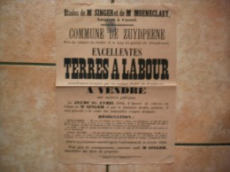 24 AVRIL 1884 ZUYDPEENE TERRES A LABOURA VENDRE OCCUPEES PAR LES ENFANTS PARY DE ZUYDPEENE - Posters