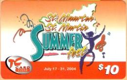 St Martin/ Antilles Neth. - PRE-TCM-1002, GSM Refil, Summer Fest 2004, Tel Cell, 10 $, Used As Scan - Antilles (Netherlands)