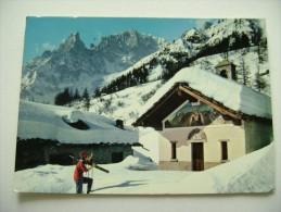 COURMAYEUR CAPPELLA DI ENTREVES SFONDO MONTE BIANCO SCI SKI  D'AOSTA    VIAGGIATA COME DA FOTO - Bolzano