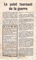 WWII WW2 Propaganda Tract Leaflet F.161, Le Point Tournant De La Querre, FREE SHIPPING WORLDWIDE - Oude Documenten