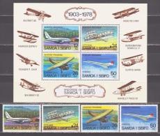 Samoa 1978 Mi 366-369 + Block 15 Progress In Aviation / Fortschritt In Der Luftfahrt **/MNH - Avions