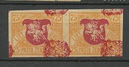 LITAUEN Lithuania 1919 Michel 36 Proof Probedruck Pair - Lithuania