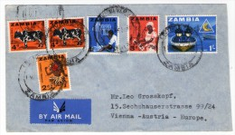 ZAMBIA - AIR MAIL COVER TO AUSTRIA 1965 / THEMATIC STAMPS-FISHING / COTTON / HEALTH / DANCER - Zambia (1965-...)