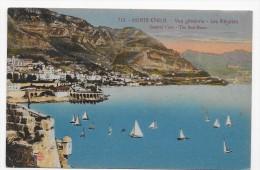 (RECTO / VERSO) MONTE CARLO EN 1921 - N° 714 - VUE GENERALE - LES REGATES - CACHET ET TIMBRE DE MONACO - CPA - Monte-Carlo