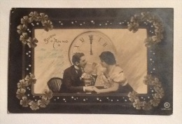 BUON ANNO DEL 1909 ART DECO IN BIANCO  E NERO VIAGGIATA FP - Anno Nuovo