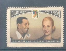 JUAN DOMINGO Y EVA PERON FORJADORES DE LA NUEVA ARGENTINA VIÑETA VIGNETTE CINDERELLA LABEL SOLD AS IS - Erinofilia