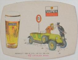 Sous-bock SUPRA Chevalier Marin Voiture Auto RENAULT 1923 N°16 Policier Alcootest Bierdeckel Beermat Bierviltje (CX) - Sous-bocks