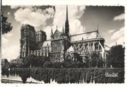 Cp, 75, Paris, Notre Dame De Paris, L'Absde Et Côté Sud,  Voyagée - Notre Dame De Paris