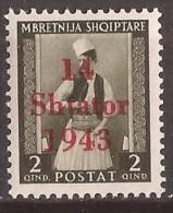 1943  1-12  ALBANIEN TRACHTEN GERMANIA DEUTSCHE BESETZUNG  OVERPRINT  SELTEN  NEVER HINGED - Occupation 1938-45