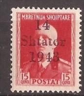1943  1-12  ALBANIEN GERMANIA DEUTSCHE BESETZUNG ITALIA KOENIG EMANUEL III OVERPRINT  SELTEN  NEVER HINGED - Occupation 1938-45