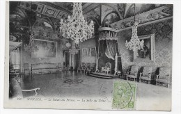 (RECTO / VERSO) MONACO EN 1912 - N° 203 - LE PALAIS DU PRINCE - LA SALLE DU TRONE - CACHET ET TIMBRE DE MONACO - CPA - Fürstenpalast