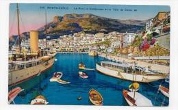(RECTO / VERSO) MONTE CARLO EN 1927 - N° 256 - LE PORT -  PLIS ANGLES BAS - CACHET ET TIMBRE DE MONACO - CPA - Harbor