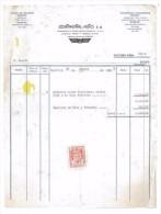 FACTURE CONTINENTAL - AUTO S A 1959 ESPAGNE MADRID PNEUS FIRETONE - Spagna