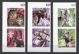 Chad Animals Animaux Tiere Cats Scouts 1997 Mi#1646-1651B MNH - Unused Stamps