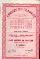 « Forges De CLABECQ » - Part Sociale - Industrie