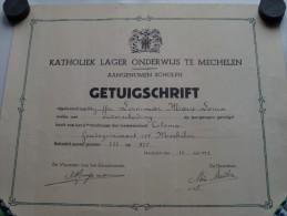 Katholiek Lager Onderwijs MECHELEN Getuigschrift ( Lammar Marie-Louise ) Anno 1952 ( Details Zie Foto ) ! - Diplômes & Bulletins Scolaires