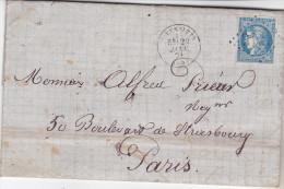 66 Lettre Du 29.01.1871 Pour Paris Avec N°46 Tb, Texte Très Riche Philatéliquement. 4 Pages Complet Tb état - Marcophilie (Lettres)