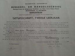 BEROEPS- En HANDELSSCHOOL ( LAMMAR Marie-Louise ) Getuigschrift Mechelen Anno 1954 ( Details Zie Foto ) ! - Diploma & School Reports